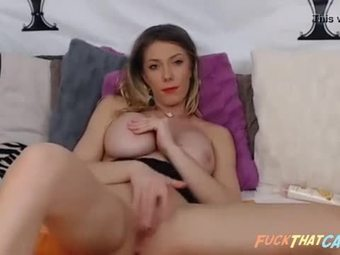Home alone blonde fingering her horny wet pussy in front of webcam