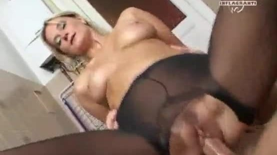 Hot blond mother fucks with son in bathroom